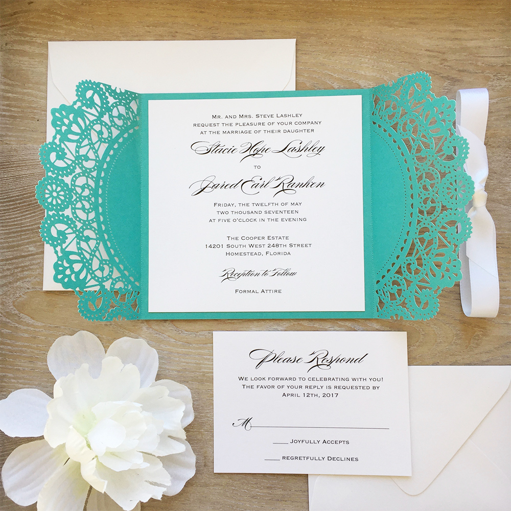 5 basics to wording wedding invitations paper lace request the pleasure of your company is used for secular locations if the couple is hosting it is common to use invite you to join us at the stopboris Images