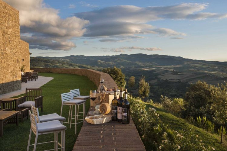 mountain View from balcony of castello di vicarello in tuscany italy for weddings